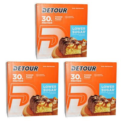 3X DETOUR SIMPLE WHEY PROTEIN BARS CARAMEL PEANUT BETTER NUTRITION HEALTH