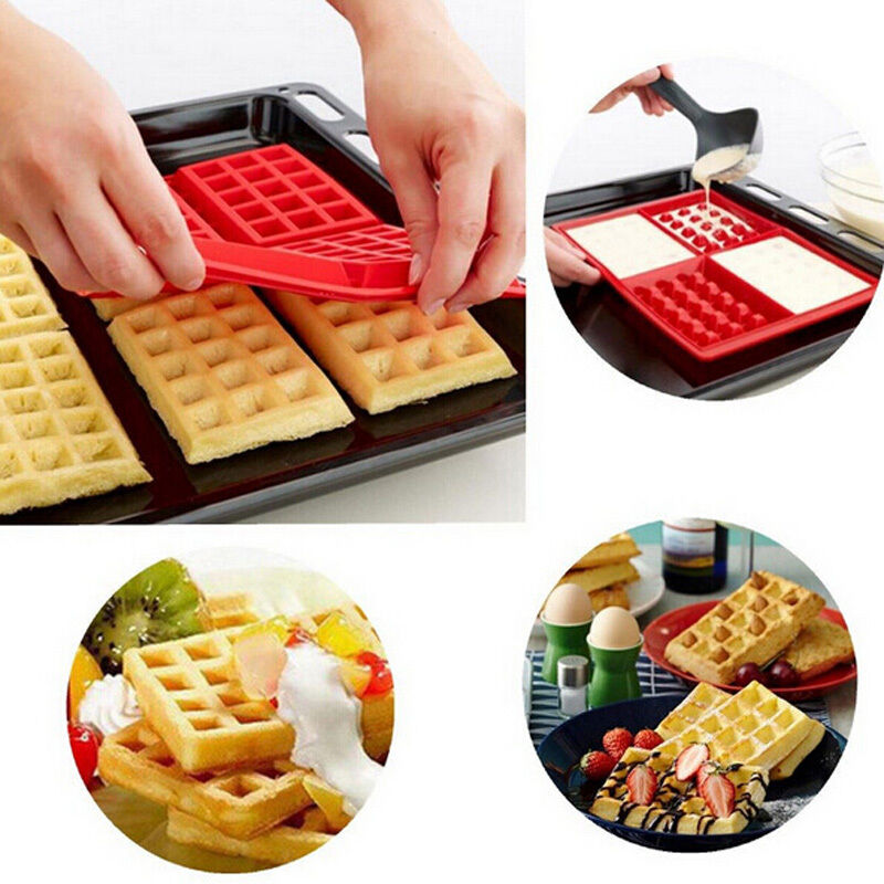 Safety Silicone 4Cavity Waffles Cake Chocolate Pan Baking Mould Donut Maker Mold