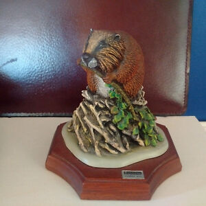 2 Wildlife Sculptures, Manatee and Calf and Beaver, COA attached Kingston Kingston Area image 5