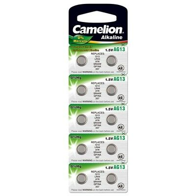 10x Knopfzelle AG13-LR44-157-357-V13GA Alkaline Uhrenbatterie von Camelion