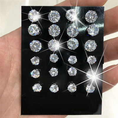 12Pairs Crystal Zircon Stainless Steel Earrings Sets Women Girl Ear Stud Jewelry