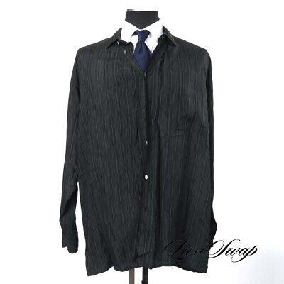 Vintage Yohji Yamamoto Made in Japan Black Slinky Pinstripe Shirt Pants Suit L