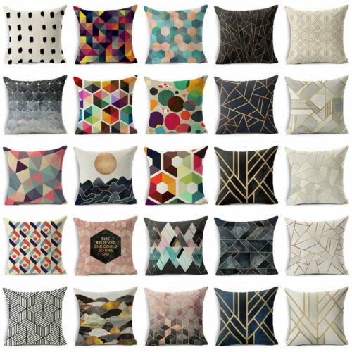 Cotton Linen Abstract Geometric Cushion Cover Throw Pillow Case Sofa Home Decor Ebay