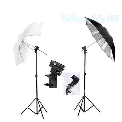 Photo Studio Flash Speedlight Umbrella Lighting Light Stand Kit Bracket Mount B