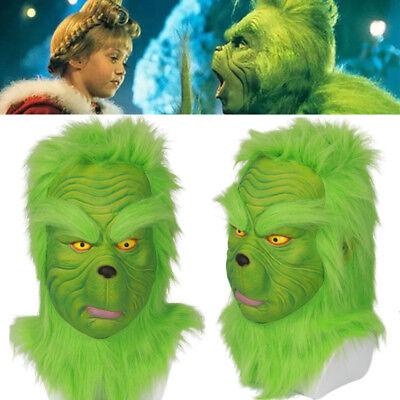 k Deluxe Latex Helmet Green Wig Halloween Xmas Cosplay Props (Grinch Halloween-kostüm)