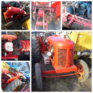 ANTIQUE RED TRATOR WORKING TRENCH DIGGER WE DELIVER