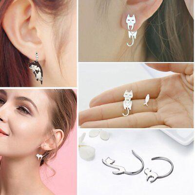 Fashion Cartoon Cat Animal Lovely Dangle Hoop Drop Earrings Women Girl Jewelry