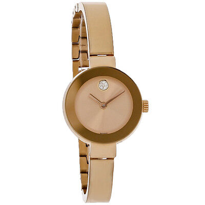 Movado Bold Ladies Champagne Dial Rose Gold Swiss Quartz Watch 3600286