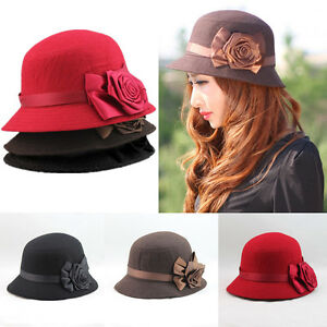 Women-Fedora-Cloche-Rose-Flower-Bucket-Hat-Lady-Elegant-Headwear-Cap-Short-Brim