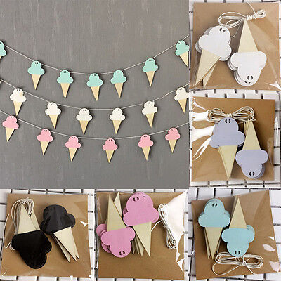 Wooden Ice Cream Banner Decoration Hanging for Kids Room DIY Wall Home Decor MAD - Ice Cream Decorations