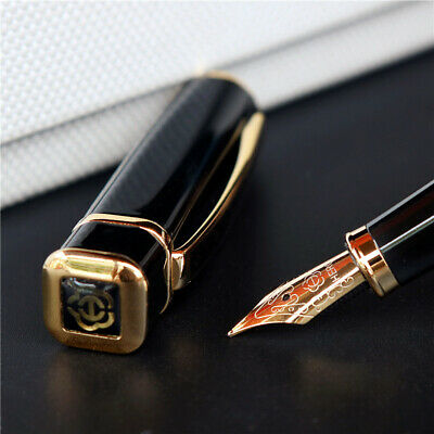 Square Metal Pen - HERO 979 Square Cap Metal Golden Plates Clip Fountain Pen Fine Nib 0.5mm Ink Pen