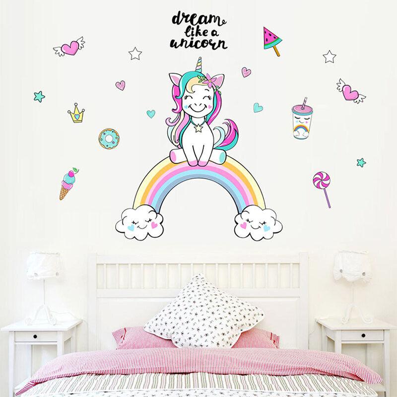 Details about 3 Sizes Rainbow Unicorn Wall Sticker Girls Bedroom Wall Decal  Art Nursery Fine