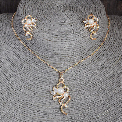 18K Gold Plated Crystal Pearl Pendant Necklace Stud Earring Jewelry Set Hot Sale