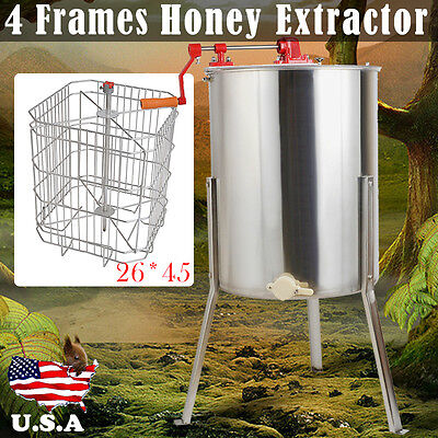 New 4 Frame Beekeeping Equipment Large 304 Stainless Steel Honey Extractor 31