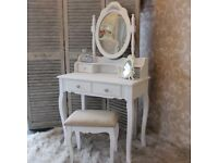White Dressing Table, Stool & Mirror Shabby chic