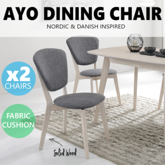 2 X AYO Dining Chair Scandinavian Solid Wood Upholstery Fabric