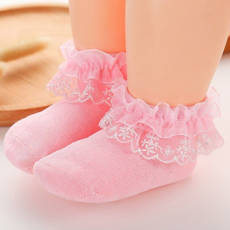 Newborn Baby Socks Lace Bows Baby Girl Socks Autumn Princess Soft Infant Toddler