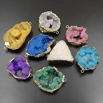 Natural Druzy Quartz Agate Geode Sliced Connector Bracelet Beads Pendant (Druzy Geode Agate Pendant)