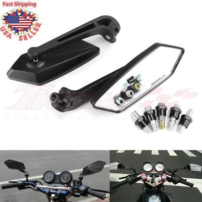 Pair Universal Motorcycle Bike Blade Rear View Mirrors 8mm 10mm Chopper Bobber