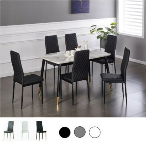 Set of 4/6 Dining Chairs High Backrest PU Modern Elegant Kitchen Room Fireproof