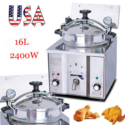 Usa 16l Commercial Electric Countertop Pressure Fryer Heater Temperature Control