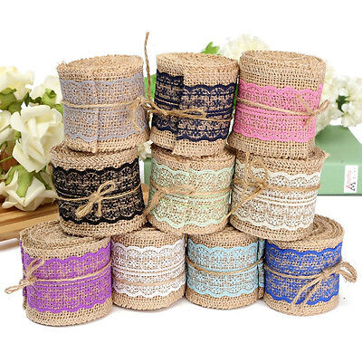 2M Jute Burlap Natural Ribbon With Lace Trim Edge Party Rustic Table Craft Decor - Burlap Ribbon With Lace