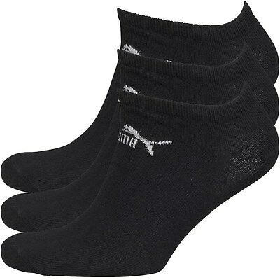 3 Pair Puma Sports Socks Black Invisible Sneakers No Show Ankle Socks Mens 6-11