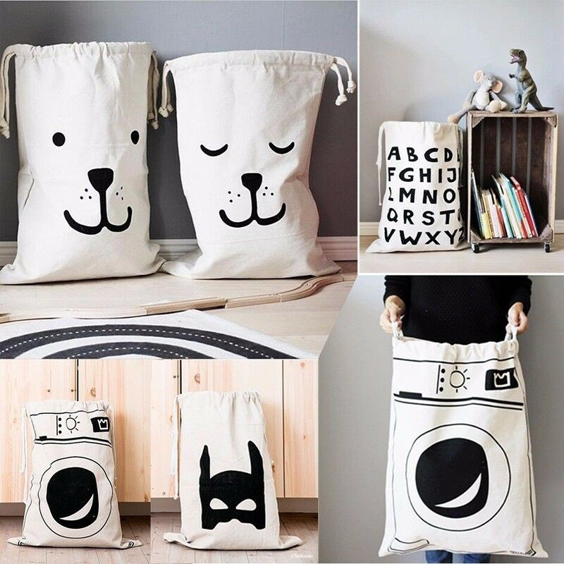 Large Capacity Storage Bags Canvas Laundry Basket Drawstring