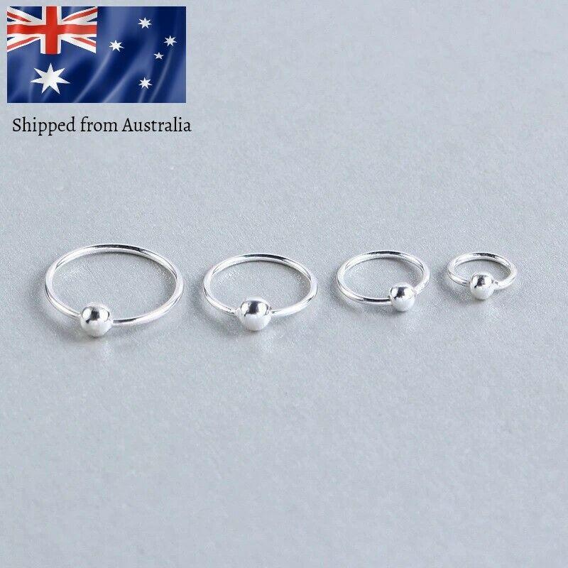 Jewellery - 925 Sterling Silver Sleeper Ring Bead Earrings Lip Ear Nose Body Piercing