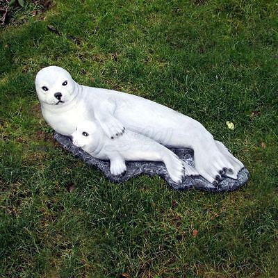 SEEHUND mit HEULER BABY ROBBE 95 cm Fels Deko Figur Garten Tier lebensgroß Teich