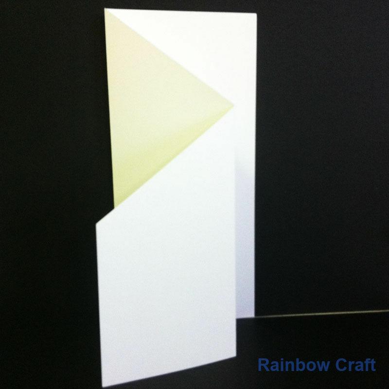 10 Blank Cards & Envelopes / Scallop Edge / step card / DL / Horizontal / Swing - Zig Zag Card