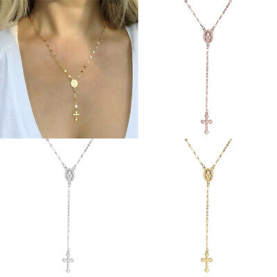 Womens New Jesus Beads Crucifix Virgin Mens Necklace Rosary Mary Chain Pendant Rosary Chain Pendant