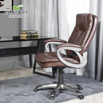 Leather Office Chair High Back Executive Swivel Task Computer Desk Classic Brown