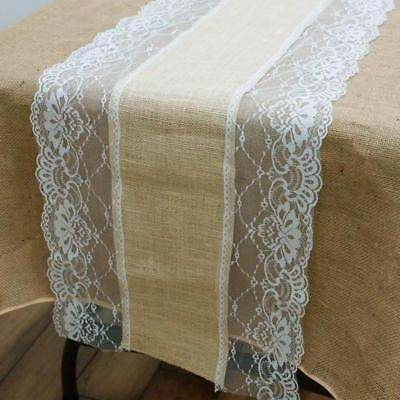 LACE BURLAP TABLE RUNNER 14x108