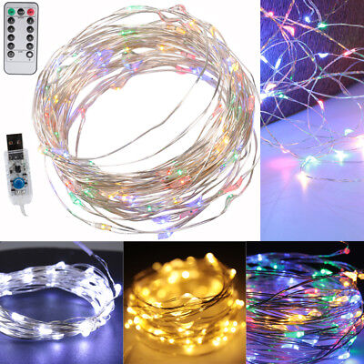 (50 LED 16.4ft Colorful String Fairy Lights USB Powered Xmas Party Room Decor)