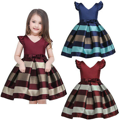 US Stock Kids Baby Bowknot Striped Girls Dress Formal Gown Party Pageant Dresses - Dress Kids Girl