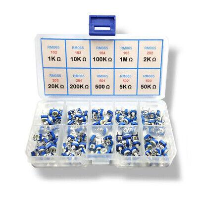 100pcs 10 Value Potentiometer Trimpot Resistor Assortment Rm065 Components Parts