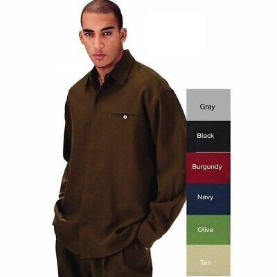 Men's 2pc Walking Suit Long Sleeve Casual Shirt & Pants Set Solid (Suit Sleeve)
