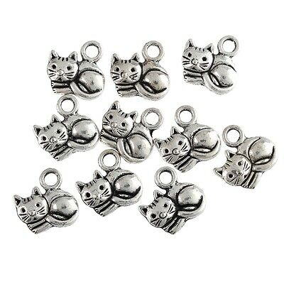 Cute Charms (10pcs Fat Cute Cats Beads Tibetan Silver Charms Pendant Fit DIY)