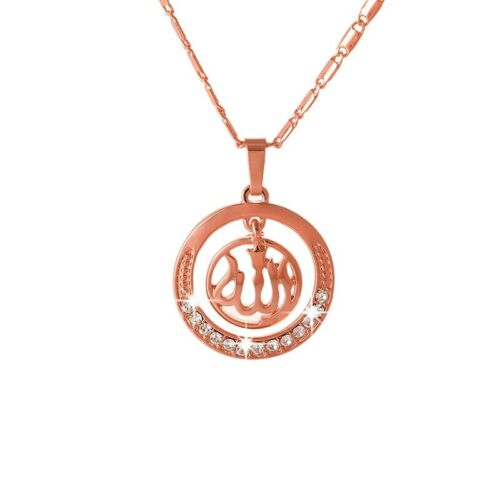Muslim Allah rose golden  Pendant with chain