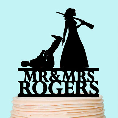 Bride Dragging Groom - The Hunt Is Over Cake Topper Bride Dragging Groom Funny Wedding Decorations