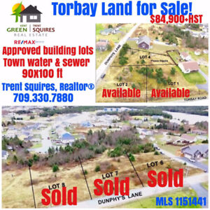 Torbay Land For Sale! Only 2 Lots Remain! $84,900+HST