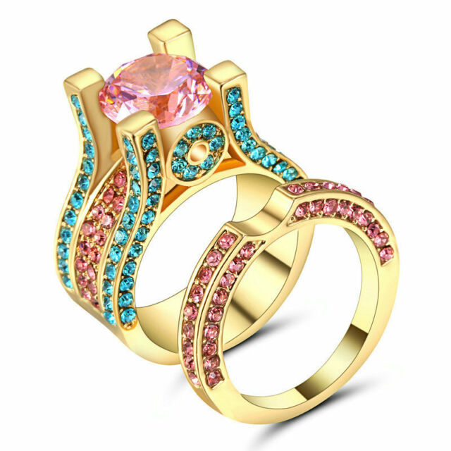 multi color cz pink topaz wedding ring set band womens yellow gold filled size 7 - Topaz Wedding Ring
