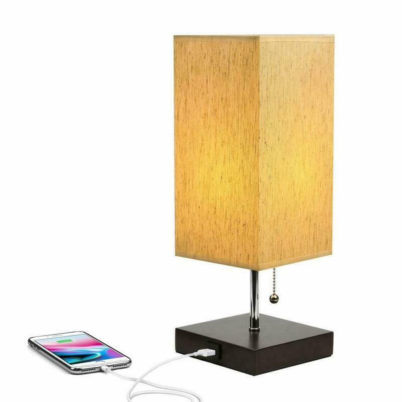 Table Lamp Modern Design USB Charging Port Wooden Black Base