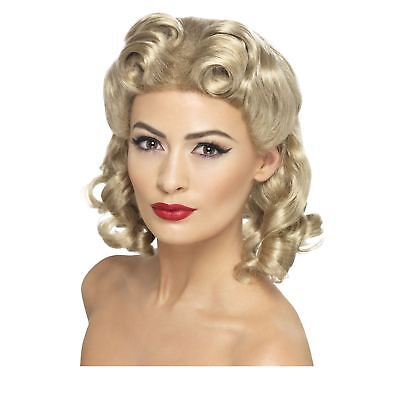 Ladies 40s Blonde Sweetheart Curled Wig WW2 Cute Wartime Styled Retro Pin - 40's Style Wigs