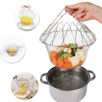 Foldable Fry Basket Stainless steel Kitchen Cooking Mesh Colander Strainer Tools