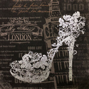 "11"" x 11"" London High Heel Art Canvas"