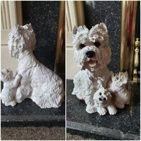 large dog garden ornament statue west highland terrier & puppy
