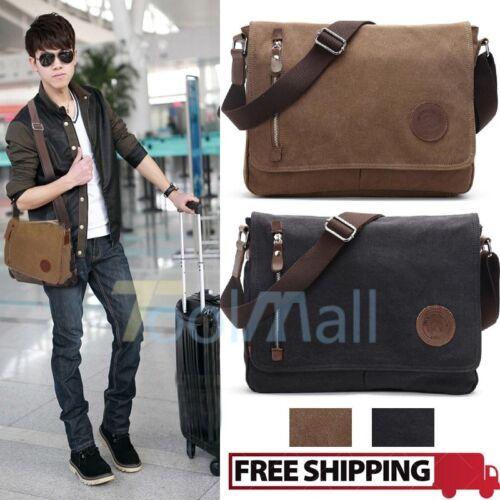 Men's Vintage Canvas Schoolbag Satchel Shoulder Messenger Bag Laptop Bags New