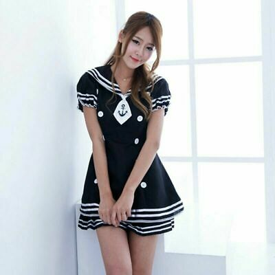 Cute Sailor Costume (Hallween Cosplay Woman Sexy Cute Sailor Dress Adorable Party Mini Skirt Costume)